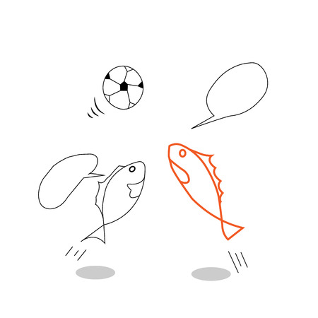 spoiling: the simple drawing sketches cartoon and pictures of fish that are spoiling the ball