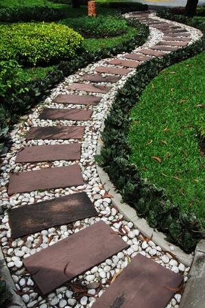 garden bench: walkway