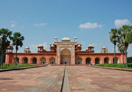 Weitwinkel-Blick auf Akbars Grab, Indien