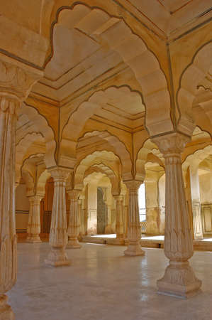 Colonnades in Amber fort, India