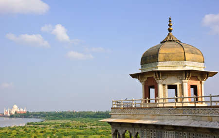 uttar: Octagonal tower of Musamman Burj in Agra fort, India