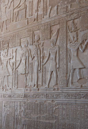 Egyptian gods on wall in Kom Ombo temple, Egypt photo