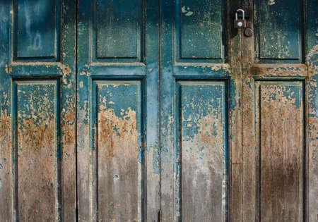 Old green painted door photo