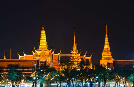 Wat Phra Kaew in night scene, Bangkok, Thailand  photo