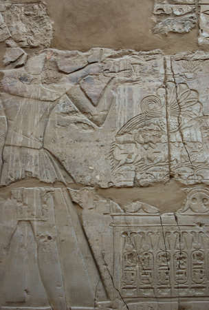 Egyptian relief on wall in Karnak temple, Egypt