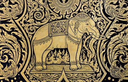 Elephant Malerei im traditionellen Thai-Stil Standard-Bild - 12041467