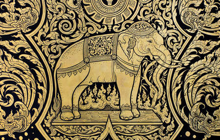 lotus temple: Elephant painting in Traditional Thai style Stock Photo