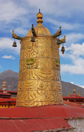 Dhvaja or victory banner on roof of Jokhang temple, Tibet photo