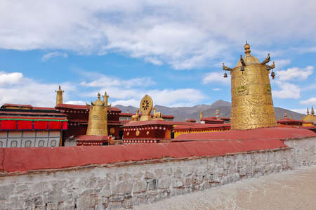 Roof decoration of Jokhang temple in Lhasa, Tibet photo