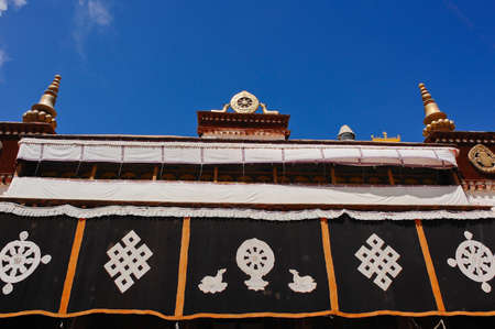 Roof decoration in Sera monastery in Lhasa, Tibet