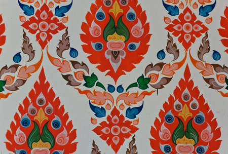 Colorful Thai floral pattern art