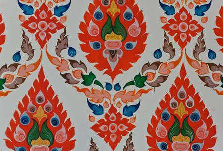 Colorful Thai floral pattern art photo