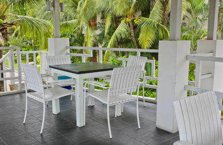White chairs and table Stock Photo - 13014584