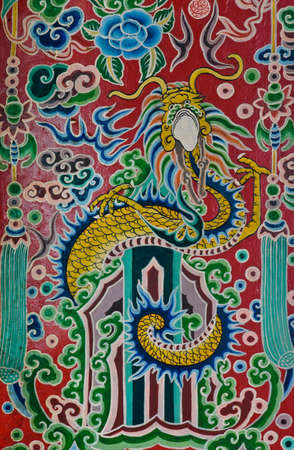 Chinese dragon painting on temple door