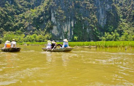 tam: Vietnamese paddle rowboat at Tam Coc, Vietnam