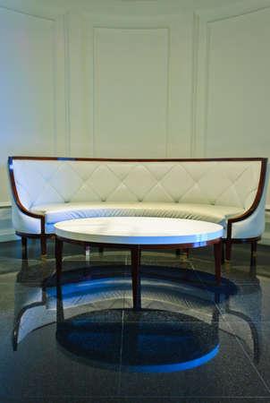 White luxury sofa in living room photo