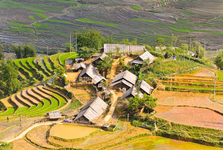 Reis terrassierten Feldern in Ta Van Dorf - Bergstämme in Sapa, Vietnam Standard-Bild - 13882952