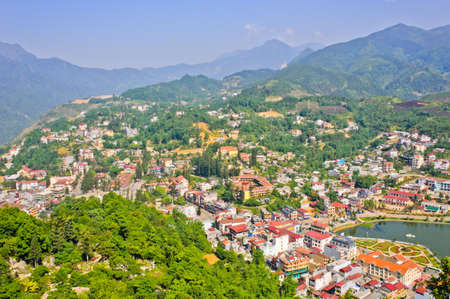 Sapa town in green valley, Vietnam photo