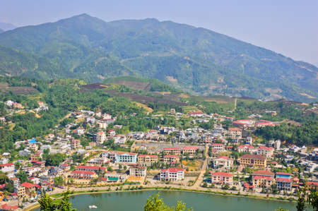 View of Sapa lake and town town from Ham Rong mountain, Vietnam photo