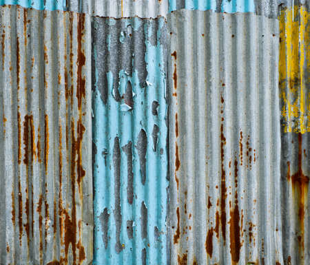 Grunge painted corrugate metal wall photo