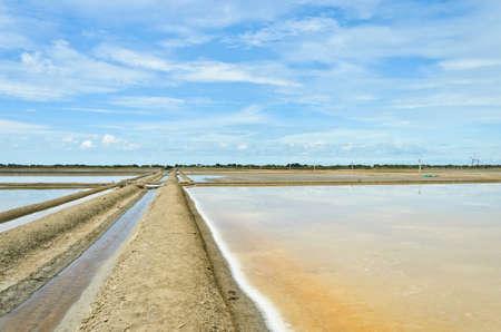 evaporacion: Estanques de evaporaci�n de sal en Tailandia Foto de archivo