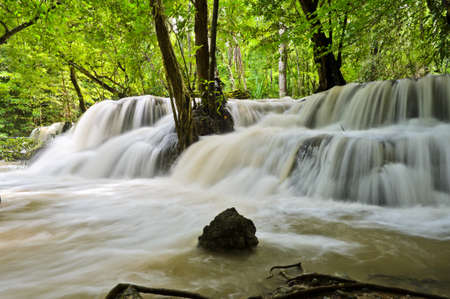 Waterfall in tropical rain forest, Thailand photo
