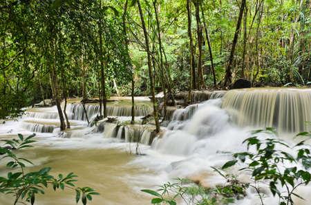 Beautiful waterfall in tropical rainforest, Thailand photo