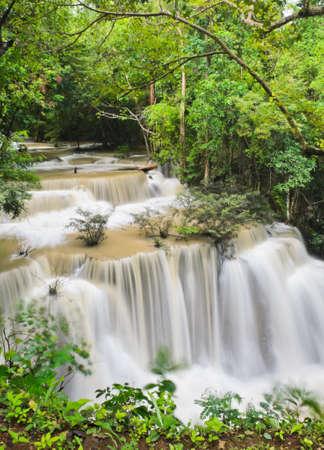 Huay Mae Khamin waterfall in tropical rainforest, Thailand photo