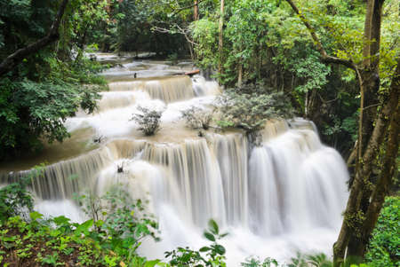 khamin: Huay Mae Khamin waterfall in tropical rainforest, Thailand Stock Photo