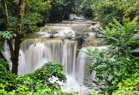 khamin: Huay Mae Khamin waterfall in tropical rainforest, Thailand Stock Photo