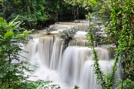Huay Mae Khamin waterfall in tropical rainforest, Thailand photo