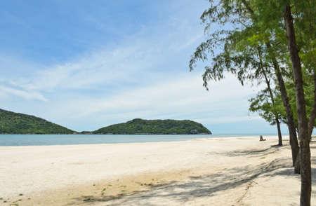 Tropical white sand beach of Hat Laem Sala , Thailand Stock Photo - 15445113