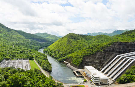 hydropower: Hydroelectric power generation of Srinakarin Dam, Thailand Stock Photo