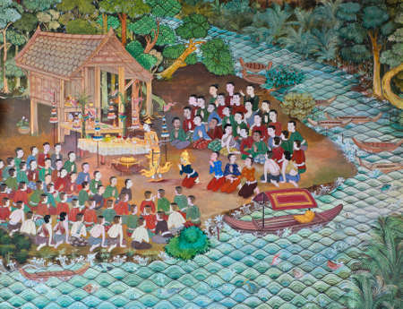 Beautiful Thai mural on temple wall Editorial