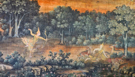 depict: Native Thai mural depict a previous life of Buddha