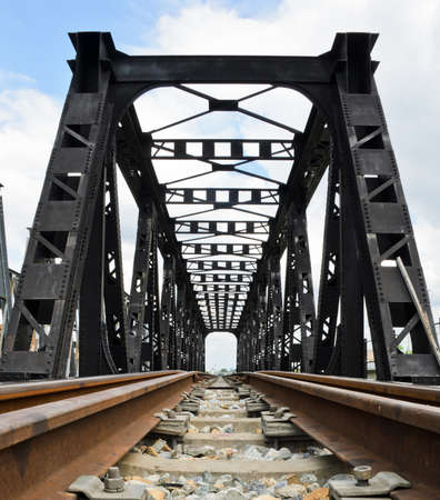 Old railway bridge in low angle view