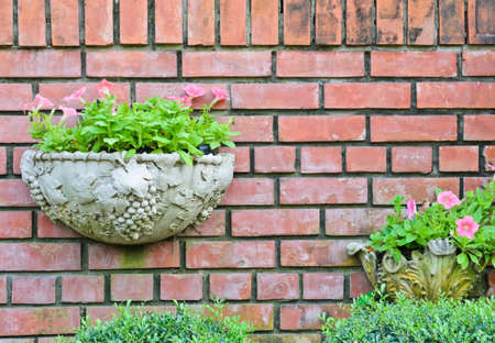 Flower pots on brick wall  photo