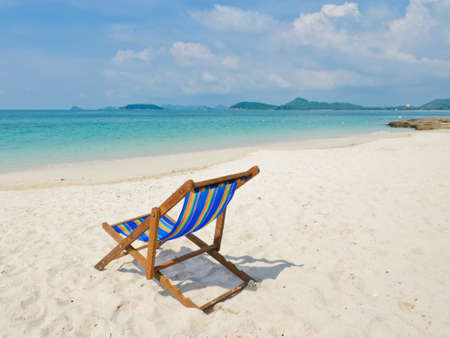 Tropical beach with colorful beach chair, Thailand photo