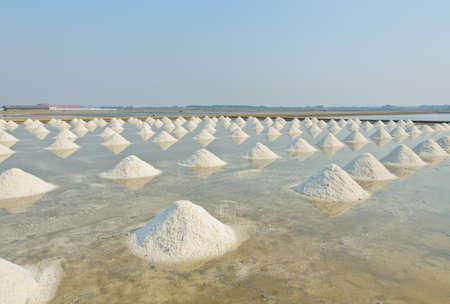 Sea salt piles in evaporation pond, Thailand