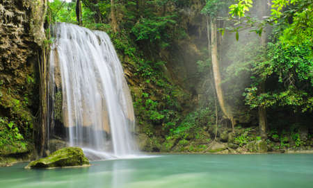 erawan: Erawan waterfall in Kanchaburi, Thailand Stock Photo