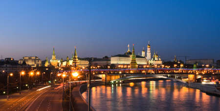 Panorama night view of Moscow Kremlin, Russia photo