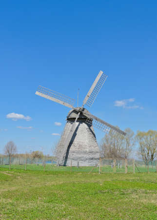 novgorod: Ancient wooden windmill in Veliky Novgorod, Russia Stock Photo