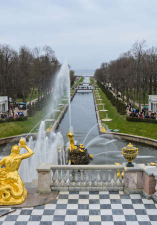 Famous Samson and Lion fountain in Peterhof Grand Palace, St  Petersburg, Russia photo
