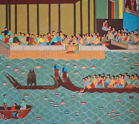 Thai painting of Loi Krathong festival on temple wall, Thailand Editorial