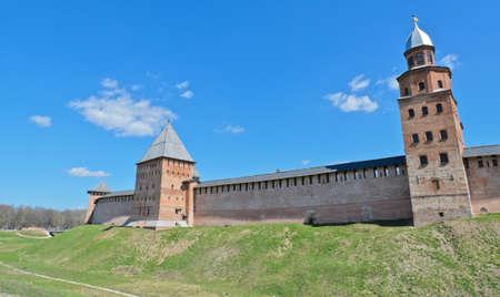 veliky: Tower and wall of Novgorod Kremlin in Veliky Novgorod, Russia