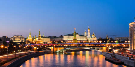moskva river: Panorama night view of Moscow Kremlin, Russia