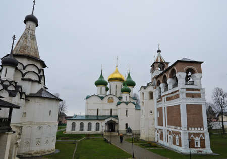 Transfiguration cathedral and bell tower in Monastery of Saint Euthymius in Suzdal, Russia photo