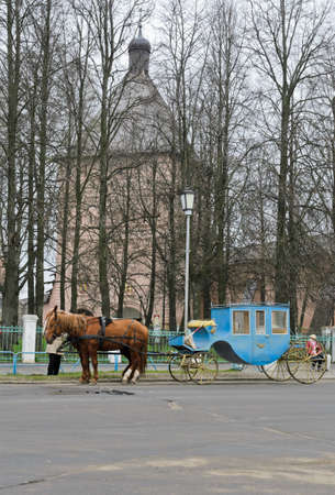 orthodoxy: Carriage infront of Monastery of Saint Euthymius in Suzdal, Russia