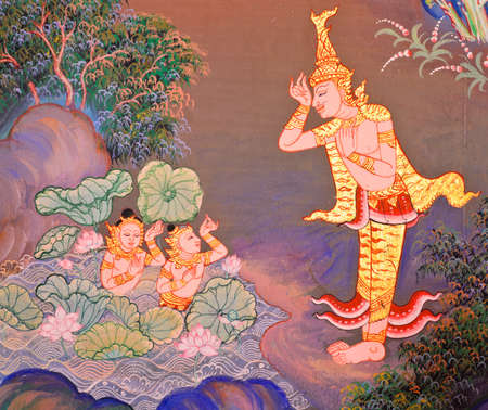 Traditional Thai mural painting of the Life of Buddha on temple wall Editorial