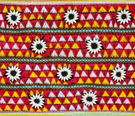 Colorful Thai fabric pattern  photo